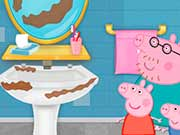 Peppa Pig  bathroom cleaning